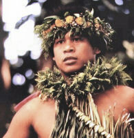 Hula dancer in lei of native plants